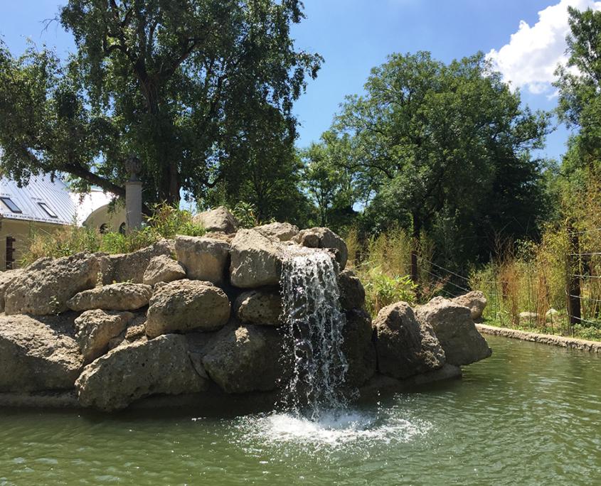 Nagelfluh Bruchsteine Wasserbecken Tierpark