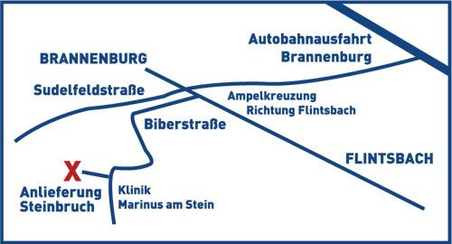 Karte für LKW Anfahrt zu Nagelfluhwerk /Steinbruch Grad in Brannenburg
