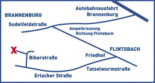 Karte für PKW Anfahrt zu Nagelfluhwerk Grad in Brannenburg