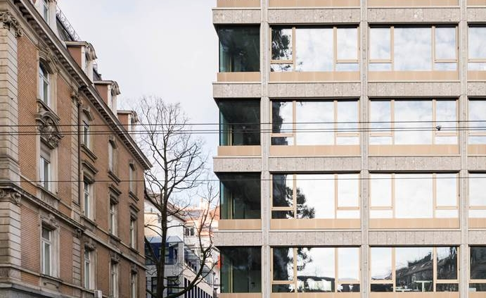 Bleicherstrasse in Zürich Nagelfluh Fassadenverkleidung Foto: Roman Keller